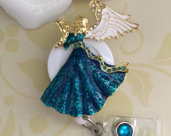 Rhinestone Angel Retractable ID Badge Reel, Nurse Badge Reel