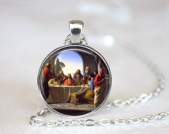The Last Supper Carl Bloch Painting Glass Pendant, Photo Glass Necklace, Glass Keychain, Glass Jewelry