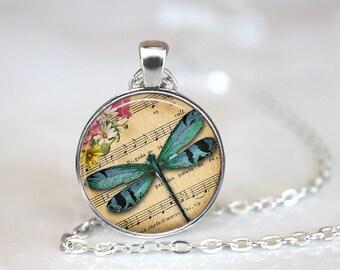 Blue Dragonfly Glass Pendant, Photo Glass Necklace, Glass Keychain, Glass Jewelry