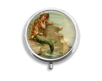 Mermaid Pill Box, Pill Container, Pill Case, Mints Container, Trinkets Box, Jewelry Box (P041)