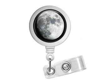 Galaxy Space Moon Photo Glass /Bottle Cap Retractable ID Badge Reel