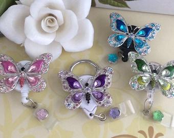 Rhinestone Metal Butterfly Retractable ID Badge Reel, Carabiner Badge Reel, Nurse Badge Reel, 4 Colors To Choose From