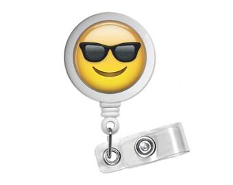 Emoji Sunglasses Photo Glass / Bottle Cap Retractable ID Badge Reel