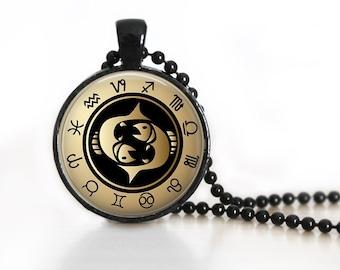 Zodiac Sign Pisces Glass Pendant, Photo Glass Necklace, Glass Keychain
