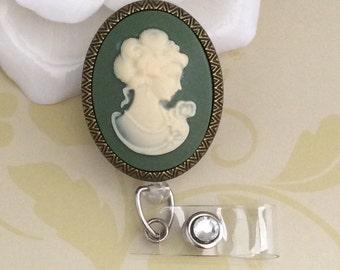 Vintage Lady Cameo Retractable ID Badge Reel, Nurse Badge Reel