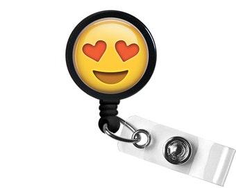 Emoji Heart Photo Glass / Bottle Cap Retractable ID Badge Reel