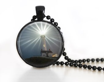Light House Glass Pendant, Photo Glass Necklace, Glass Keychain, Glass Jewelry