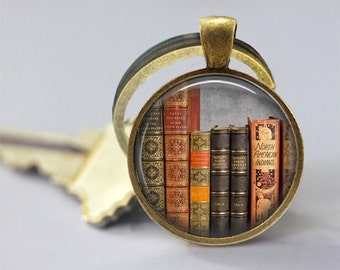 Old Books Glass Pendant/ Library Books Photo Glass Necklace/Glass Keychain