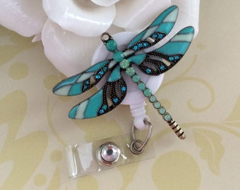 Rhinestone Blue Dragonfly Retractable ID Badge Reel, Nurse Badge Reel