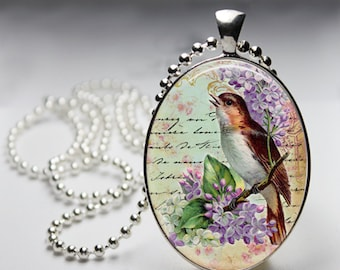 Vintage Bird Glass Pendant, Photo Glass Necklace, Glass Keychain