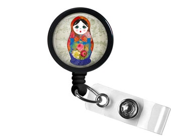 Babushka Photo Glass / Bottle Cap Retractable ID Badge Reel