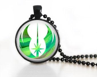 Jedi Order Symbol Star Wars Inspired Glass Pendant, Photo Glass Necklace, Glass Keychain