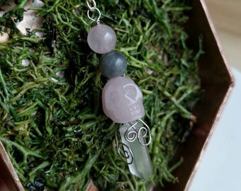 Rose Quartz Necklace - Skull Necklace - Quartz Necklace