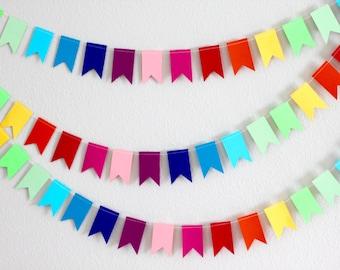 Rainbow Garland, rainbow party, flag garland, rainbow bunting, birthday decor, paper bunting, decoration, shower decor, pride, rainbow flag