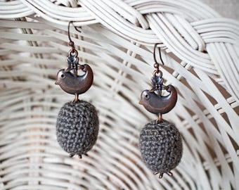 Crochet Ball Earrings, Gift for Her, Crochet Bead Jewelry, Bonbon Earrings, Dangle & Drop Earrings, Wool Jewelry, Fiber Earrings