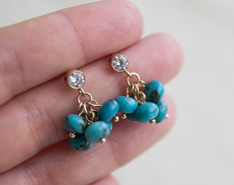 Genuine Turquoise Gemstone Earrings Gold Fill Turquoise Cluster Earrings Blue Gemstone Beaded Earrings Dangling Drop Gold Filled Jewelry