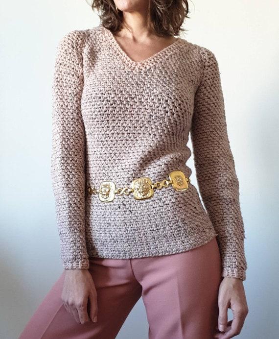 Big vintage knit sweater 70s old pink mottled tigh