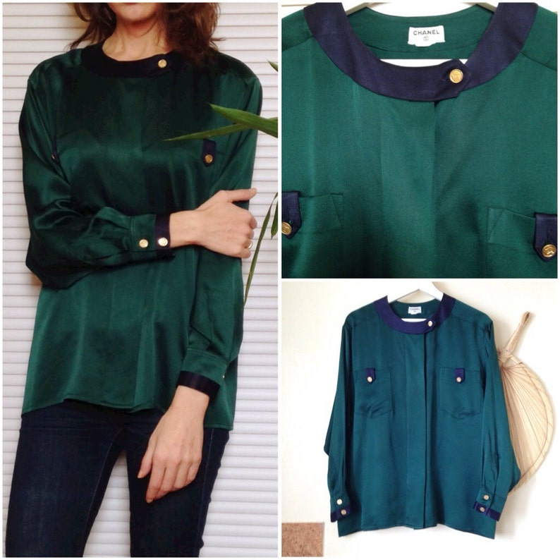 70f9dbebc2048 CHANEL Paris vintage Pine Green and Navy blue silk blouse shirt France  luxury (4... CHANEL Paris vintage Pine Green and Navy blue silk blouse shirt  France ...