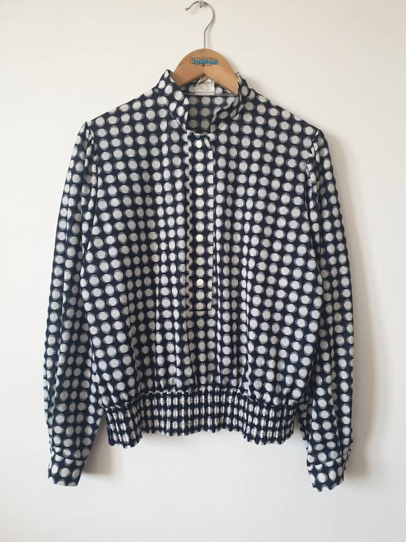 Vintage blouse 80s navy blue and white polka collar mao puffy shoulders polka dots navy blue blouse L40