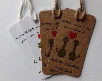Geek Wedding, Alternative Wedding,Dinosaur Wedding, Dinosaur Wedding tags, Wedding favour tags, Funny Wedding tags.