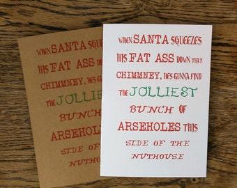 Christmas Card, Rude Christmas Card, Funny Christmas Card, Card Pack.