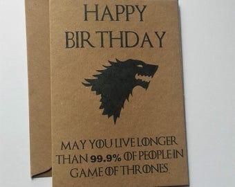 Game of Thrones Birthday card - house stark