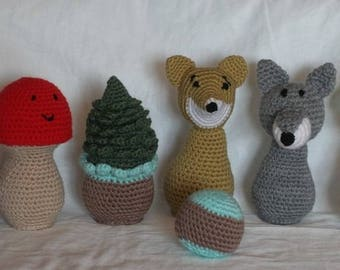 """Bowling game """"people of the forest"""" crochet"""