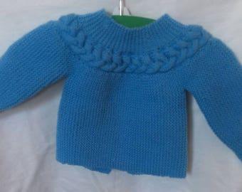Handmade light blue bra with braided newborn