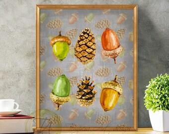 Fall Decor, Acorns, Pine Cones, Woodland Art, Woodland Decor, Woodland Pine Cones, Fall Prints, Woodland Prints, Acorns Art, Fall Pine Cones