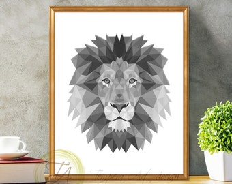 Black and White Print, Lion Tribal Art- Lion Print- Black and White Lion- Geometric Tribal Art- Polygonal Animals Black and White Lion Print