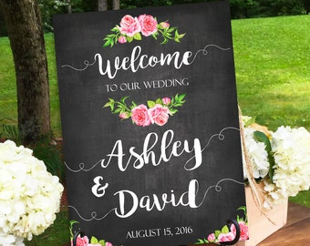 Wedding Sign, Welcome Wedding, Welcome Wedding Signs, Wedding Signs, Roses Wedding Sign, Chalkboard Welcome, Floral Wedding Sign, Printable
