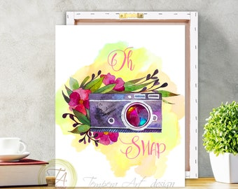Camera Print, Oh Snap, Watercolor Camera Canvas Wall Art, Canvas