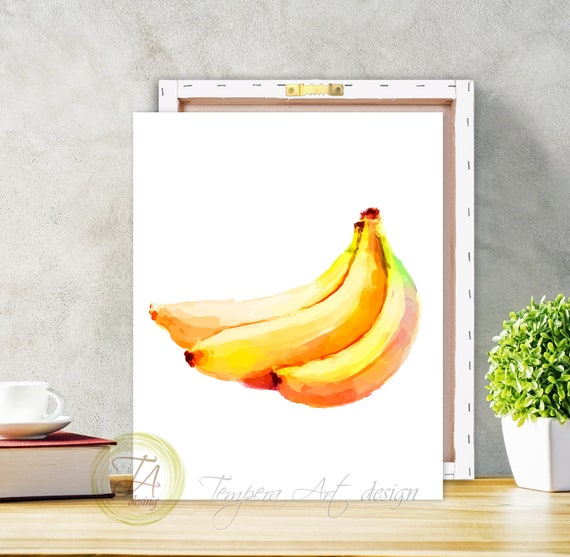 Bananen-Leinwand-Kunst, Bananen-Dekor, Banane Druck, Küche Druck,  Bananen-Kunst-Dekor, Obst Küche Leinwand