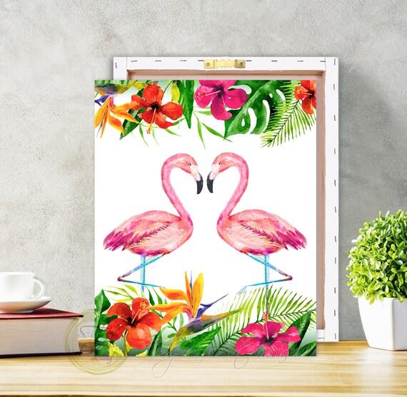 Flamingo Jungle Love Canvas Wall Art Print
