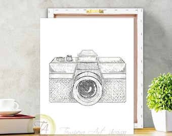 Camera Print, Black and White Camera, Art Decor Camera Canvas