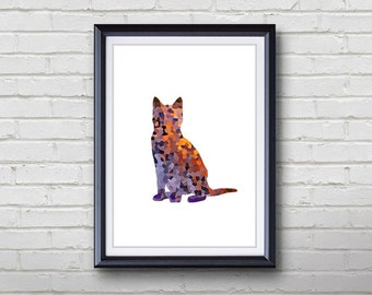 Purple Cat Print - Home Living - Animal Painting -  Cat Animal Art - Wall Decor - Home Decor, House Warming Gifts