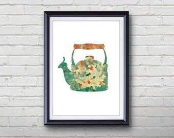 Vintage Kettle Print - Home Living - Kitchenware Painting - Kitchen Wall Art - Wall Decor - Home Decor, House Warming Gifts