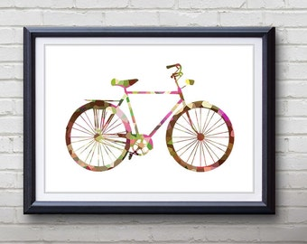 Pink Vintage Bicycle Print - Home Living - Bicycle Painting - Bicycle Wall Art - Wall Decor - Home Decor, House Warming Gifts