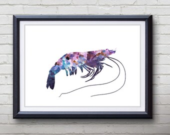 Purple Prawn Ocean Animal Print - Home Living - Prawn Painting - Prawn Wall Art - Wall Decor - Home Decor, House Warming Gifts
