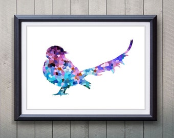 Purple Bird Animal Print - Home Living - Animal Painting -  Bird Animal Art - Wall Decor - Home Decor, House Warming Gifts