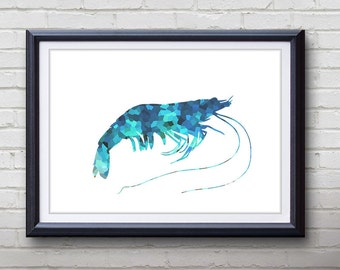 Blue Prawn Ocean Animal Print - Home Living - Prawn Painting - Prawn Wall Art - Wall Decor - Home Decor, House Warming Gifts