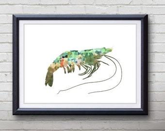 Green Prawn Ocean Animal Print - Home Living - Prawn Painting - Prawn Wall Art - Wall Decor - Home Decor, House Warming Gifts