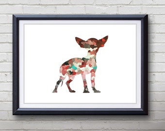 Red Chihuahua Dog Print - Home Living - Animal Painting -  Chihuahua Dog Animal Art - Wall Decor - Home Decor, House Warming Gifts
