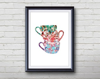 Cups Kitchen Print - Home Living - Cups Painting - Kitchen Wall Art - Wall Decor - Home Decor, House Warming Gifts