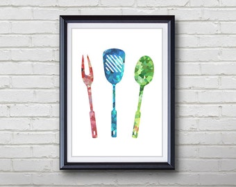 Grill Utensils Print - Home Living - Kitchenware Painting - Kitchen Wall Art - Wall Decor - Home Decor, House Warming Gifts