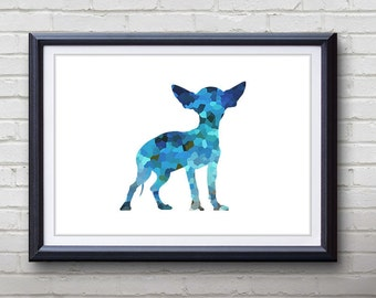 Blue Chihuahua Dog Print - Home Living - Animal Painting -  Chihuahua Dog Animal Art - Wall Decor - Home Decor, House Warming Gifts