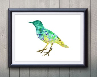 Green Bird Animal Print - Home Living - Animal Painting -  Bird Animal Art - Wall Decor - Home Decor, House Warming Gifts