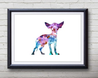 Purple Chihuahua Dog Print - Home Living - Animal Painting -  Chihuahua Dog Animal Art - Wall Decor - Home Decor, House Warming Gifts
