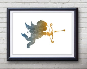 Cupid Print - Home Living - Cupid Angel Painting - Cupid Angel Art - Wall Decor - Home Decor, House Warming Gifts