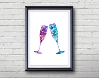 Champagne Glass Print - Home Living - Kitchenware Painting - Kitchen Wall Art - Wall Decor - Home Decor, House Warming Gifts